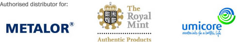 Authorised distributor for Metalor®, The Royal Mint and Umicore